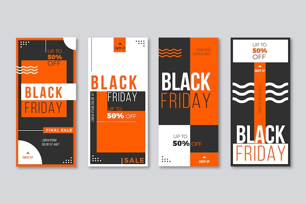 Черная пятница коллекция историй instagram Бесплатные векторы