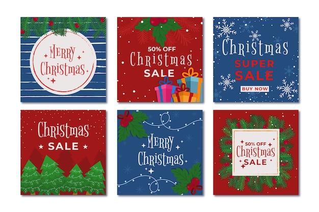 クリスマスセールinstagramポストコレクション 無料ベクター