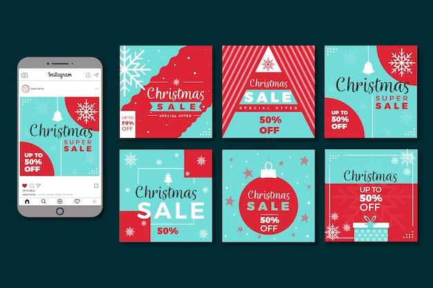 カラフルなクリスマスセールinstagram投稿コレクション 無料ベクター