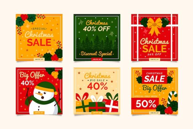 クリスマスセールinstagramポストのコレクション 無料ベクター
