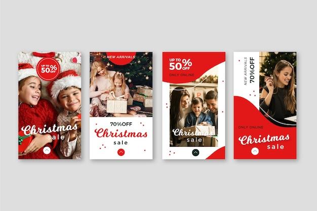 クリスマスセールinstagramストーリーコレクション 無料ベクター