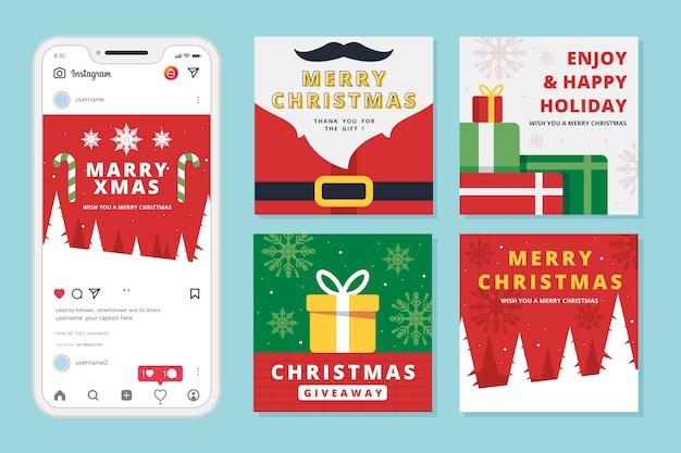 クリスマスセールinstagramポストセット 無料ベクター