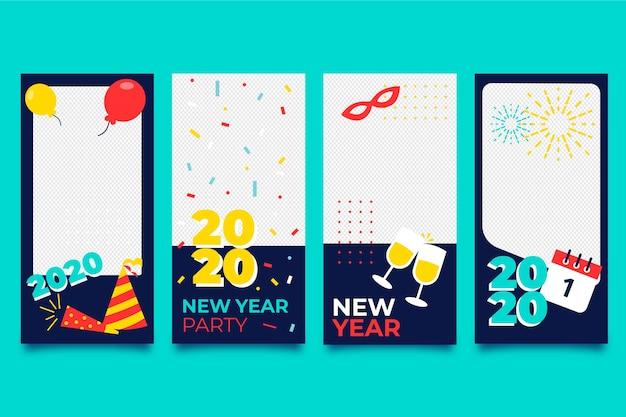 新年会instagramストーリーコレクション 無料ベクター