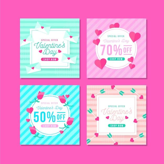 バレンタインデーセールinstagram投稿コレクション 無料ベクター