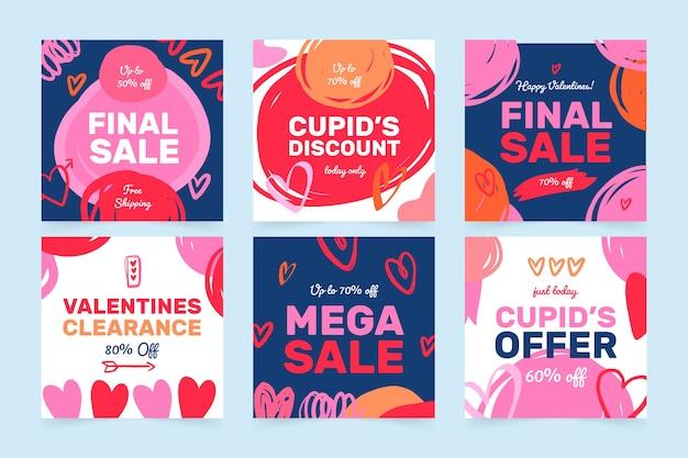 Коллекция валентина день продажи instagram пост Бесплатные векторы