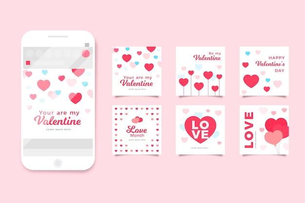 バレンタインデーinstagram投稿コレクション 無料ベクター