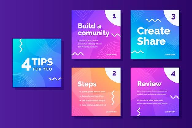 Создайте шаблон истории сообщества instagram для советов Бесплатные векторы