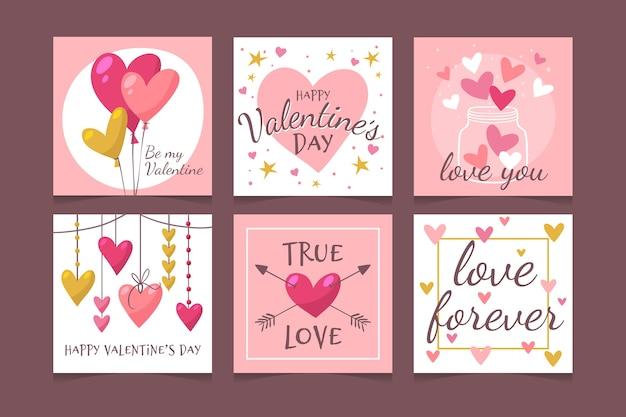 Прекрасный день святого валентина instagram набор сообщений Бесплатные векторы