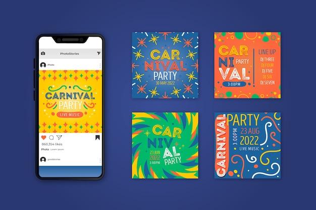 Пост-коллекция карнавальных вечеринок в instagram Бесплатные векторы