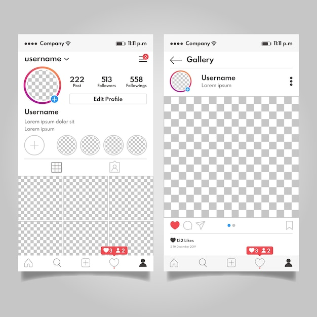 Концепция шаблона интерфейса профиля instagram Бесплатные векторы