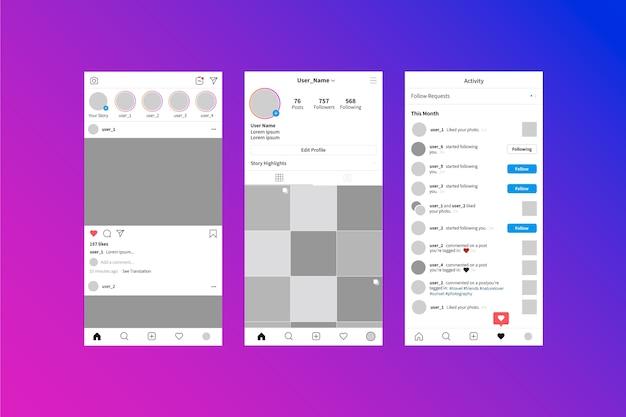 Интерфейс шаблона истории instagram Бесплатные векторы