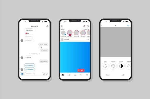 携帯電話でのinstagramプロファイルインターフェイステンプレート 無料ベクター