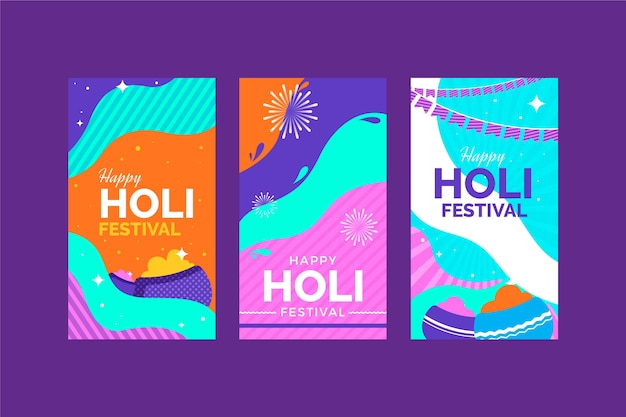 ホーリー祭instagram物語コレクション 無料ベクター