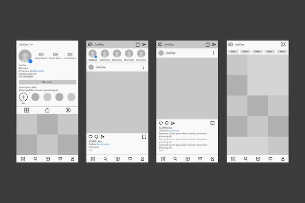 Шаблон интерфейса instagram-историй с серыми тонами Бесплатные векторы