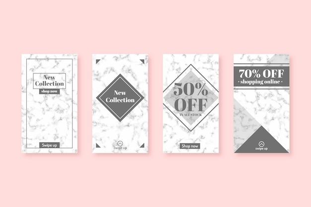 大理石スタイルの販売instagramストーリーコレクション 無料ベクター
