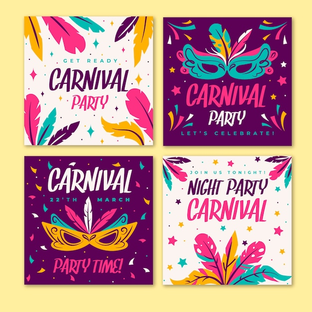 Коллекция карнавальных вечеринок в instagram Бесплатные векторы