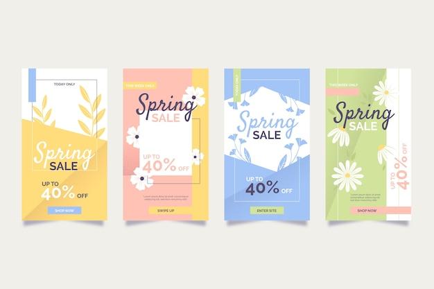 春のセールinstagramストーリーコレクション 無料ベクター