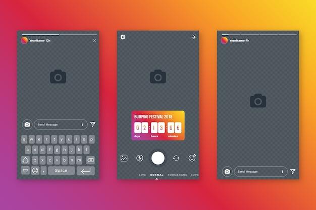 Шаблон интерфейса для instagram-историй Бесплатные векторы