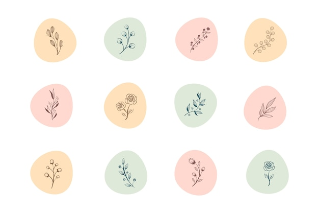Instagramの手描き花物語のハイライト 無料ベクター