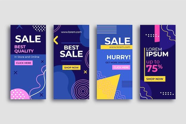Абстрактные красочные истории продажи instagram Бесплатные векторы