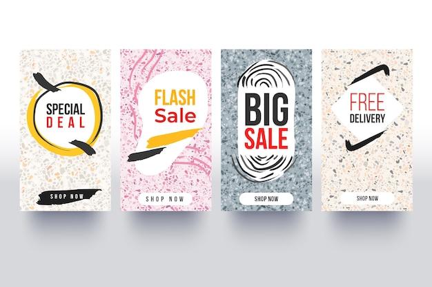 Коллекция рассказов об instagram продаж в стиле рисованной Бесплатные векторы