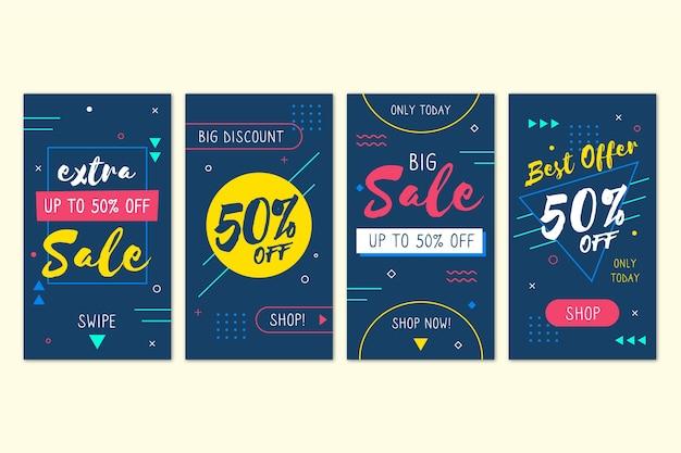 抽象的なカラフルなinstagramの販売ストーリー 無料ベクター