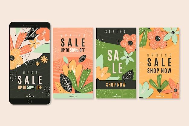 花と春販売instagramストーリーコレクション 無料ベクター