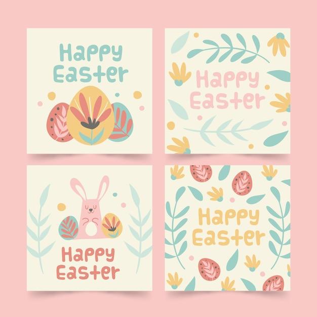 カラフルな卵と葉イースターinstagramポストコレクション 無料ベクター