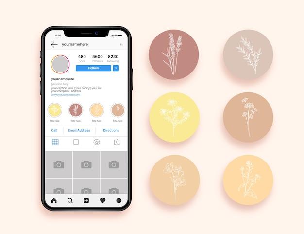 Instagram рисованной цветочные истории основные моменты Бесплатные векторы