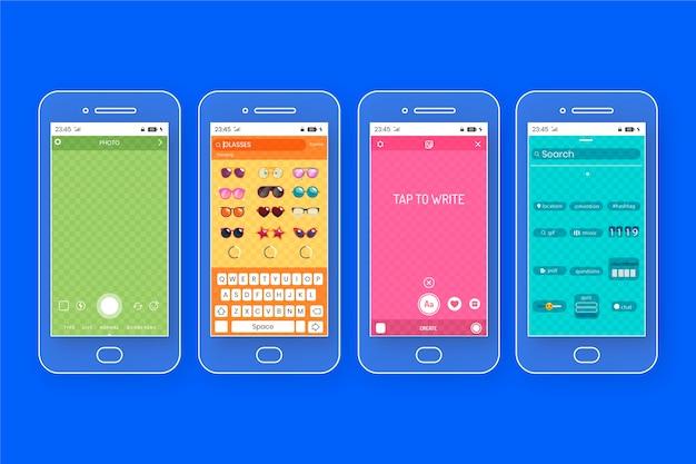Шаблоны интерфейса красочные истории instagram Бесплатные векторы