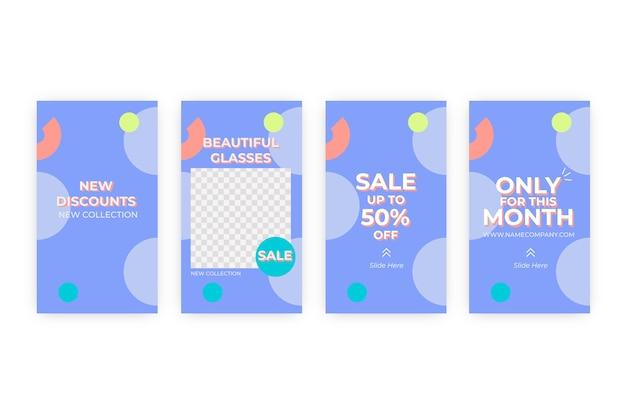 Абстрактная красочная коллекция рассказов продажи instagram Бесплатные векторы