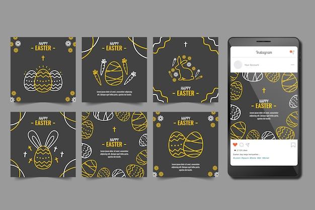 イースターの日のinstagramストーリーセット 無料ベクター