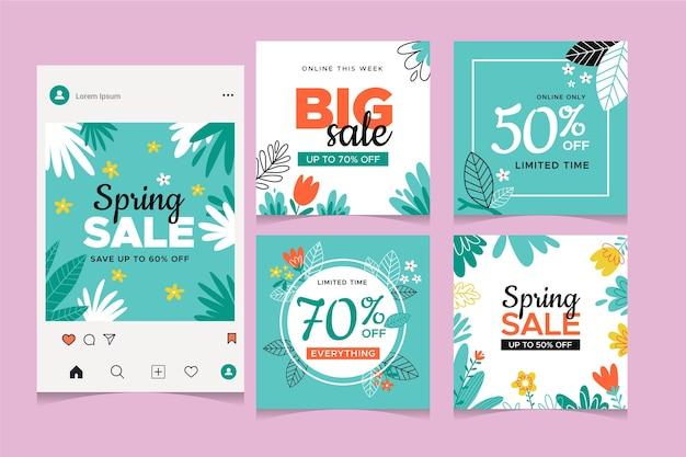 春のセールinstagramポストコレクション 無料ベクター