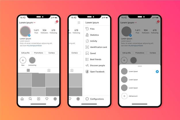 Шаблон интерфейса профиля instagram с мобильным телефоном Бесплатные векторы