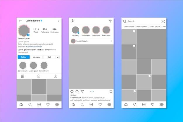 Шаблон интерфейса профиля instagram Бесплатные векторы