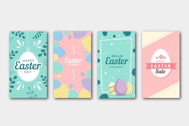 イースターの日instagramストーリーコレクション 無料ベクター