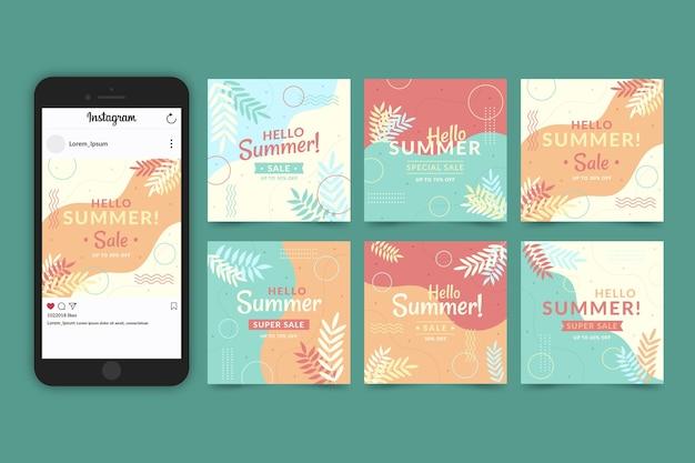 こんにちは夏のセールinstagramストーリーコレクション 無料ベクター