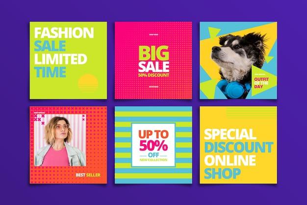 Набор красочных продаж instagram пост Бесплатные векторы