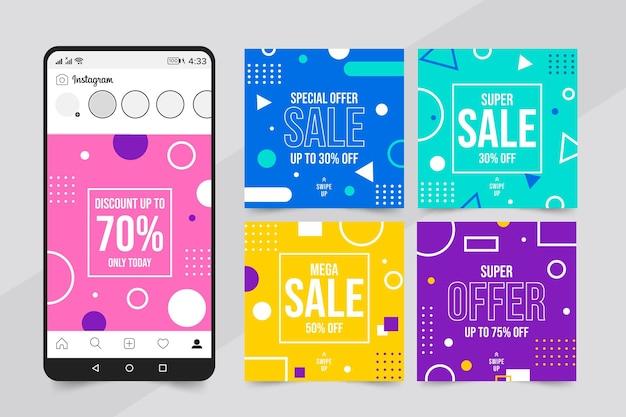 Красочные продажи instagram пост коллекция Бесплатные векторы