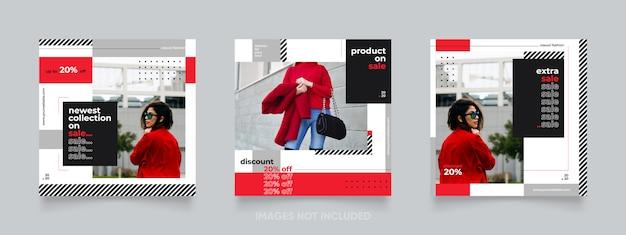 Мода продажа красный пост instagram или баннер Premium векторы