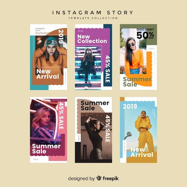 サマーセールinstagramストーリーテンプレート 無料ベクター