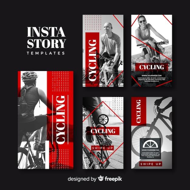 サイクリングinstagramストーリーテンプレートコレクション 無料ベクター