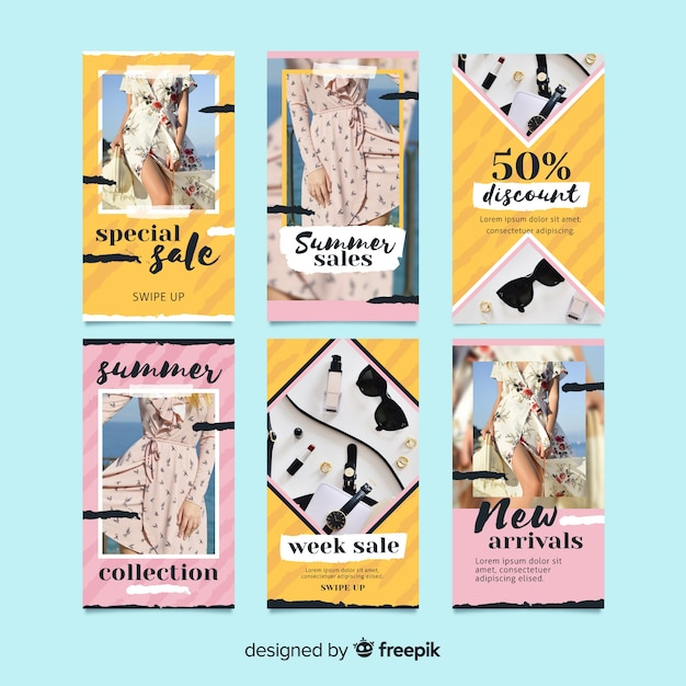 夏のセールinstagramの物語テンプレートコレクション 無料ベクター