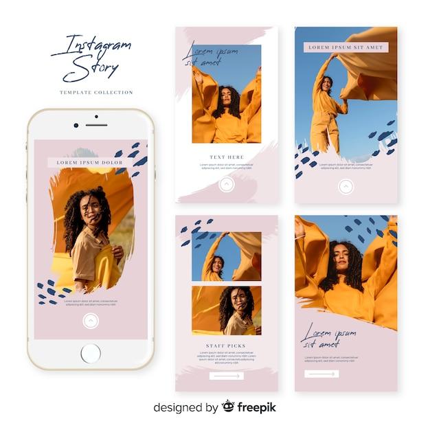Набор шаблонов рассказов instagram продаж Бесплатные векторы