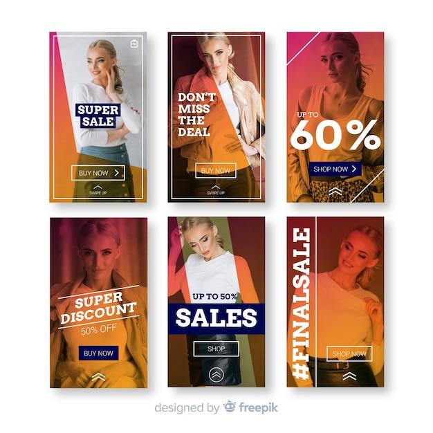 Модные распродажи шаблонов историй в instagram Бесплатные векторы