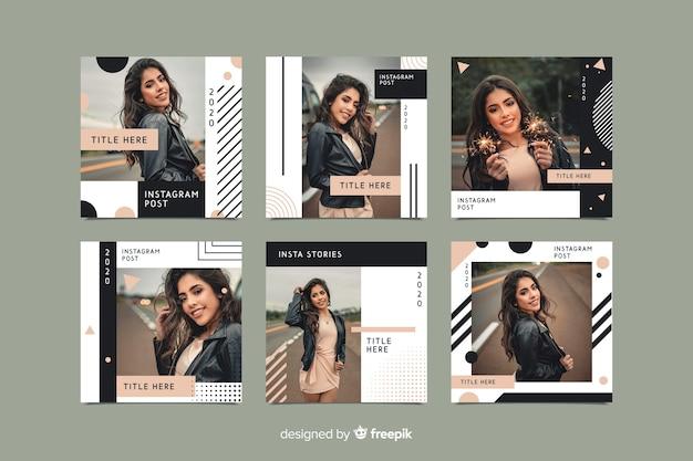 Модный шаблон поста instagram с фото Бесплатные векторы