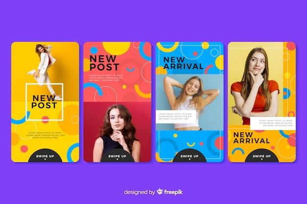 Красочные абстрактные продажи instagram истории с фото Бесплатные векторы