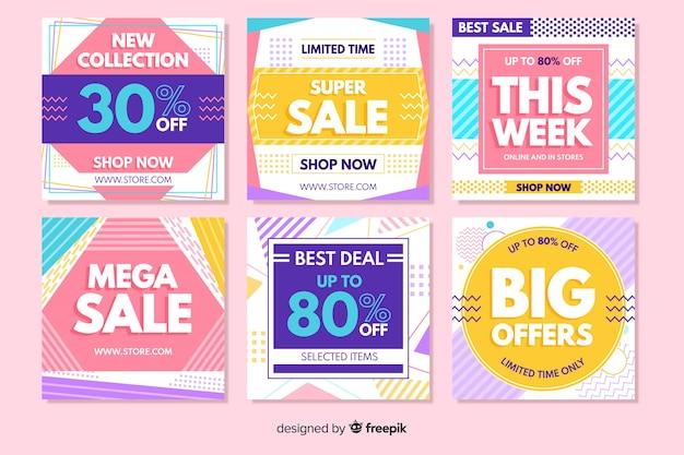 Красочные абстрактные продажи instagram пост коллекция Бесплатные векторы
