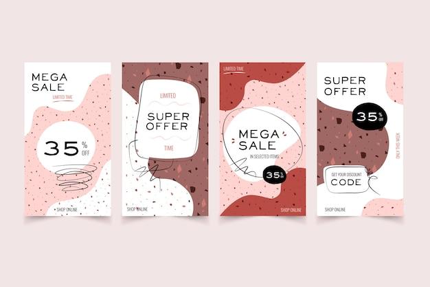 Продажа рассказов instagram в стиле терраццо и рисованной Бесплатные векторы