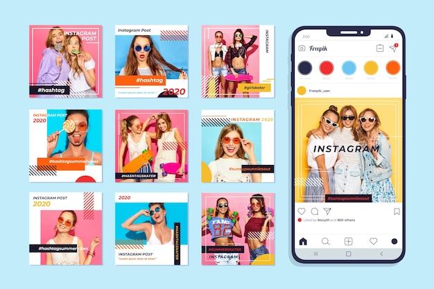 Коллекция постов в instagram на мобильном телефоне Бесплатные векторы